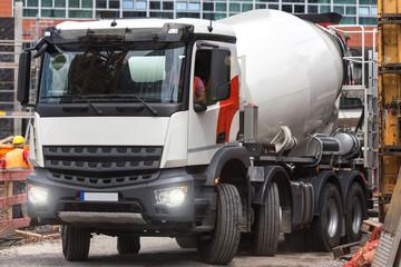 Concrete mixer truck on a construction site