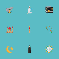 Flat Icons Decorative, Praying Man, Minaret And Other Vector Elements. Set Of Holiday Flat Icons Symbols Also Includes Rosary, Decorative, Namaz Objects.