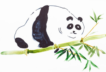 panda on bamboo trunk on white paper