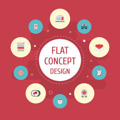 Flat Icons Audience, Journal, Application And Other Vector Elements. Set Of Advertising Flat Icons Symbols Also Includes Message, Summary, Banner Objects.