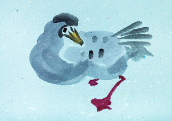 wild goose on blue colored paper