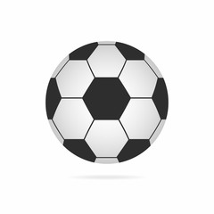 Football ball. Soccer ball icon with shadow isolated on white background