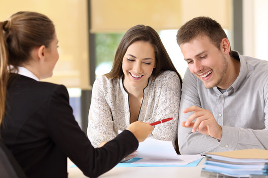 Customers ready to sign a contract at office