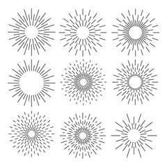 Set of sunburst geometric shapes stars and light ray. Vector illustration