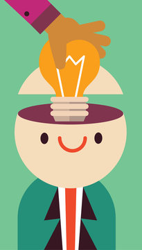 Good and positive idea, leader and manager understands a good concept, learning is key, man gets light bulb on his head as he smiles