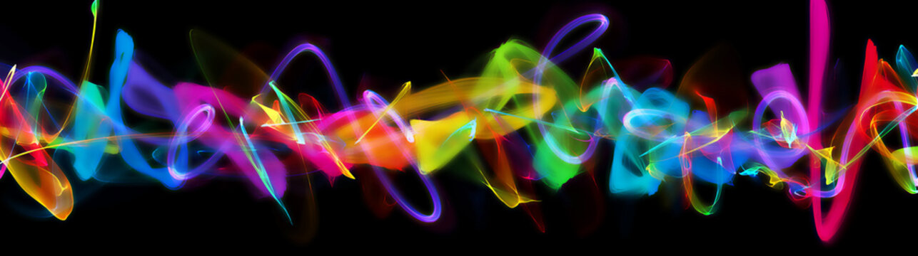 A colorful light painting effect super panorama, Creative artwork