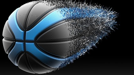 Basketball with Particles. 3D illustration. 3D high quality rendering.