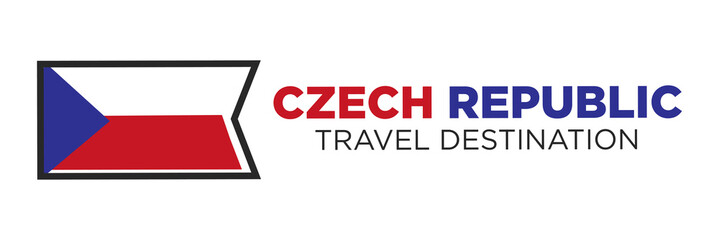 Czech Republic flag with travel destination words