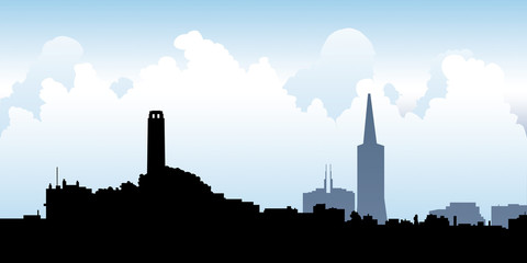 Skyline silhouette of the city of San Francisco, California, USA.