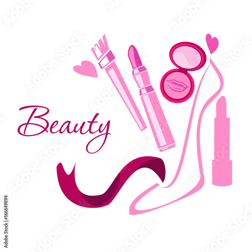 Make up style beauty logo emblem with lipstick brush powder shoes make up style beauty logo emblem with lipstick brush powder shoes hearts reheart Image collections