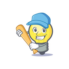 Baseball light bulb character cartoon