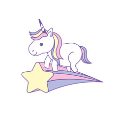 nice unicorn with horn and shooting star