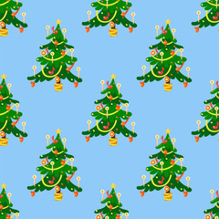 Pine tree cartoon green vector winter holiday needle seamless pattern trunk fir plant natural design illustration