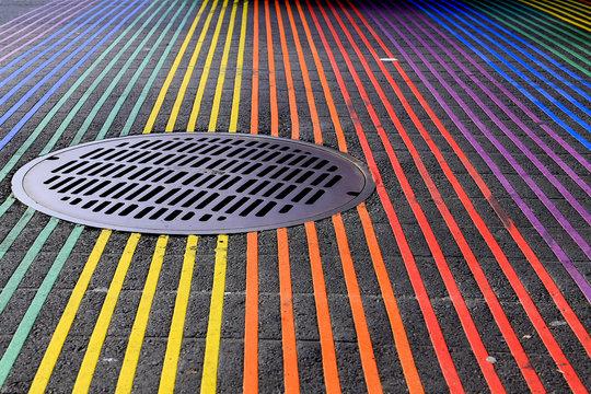 Castro District Rainbow Crosswalk Intersection, San Francisco, California