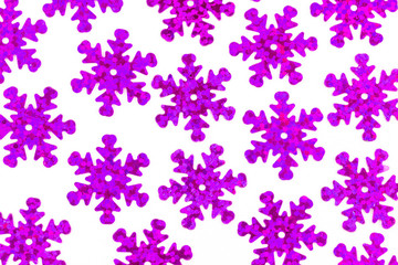 pattern with decorative violet snowflakes on a white background, new year Christmas background
