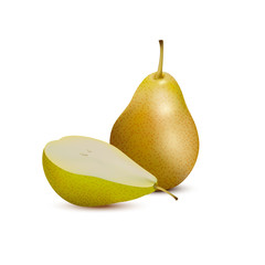 Yellow pear and slice,3d vector icon