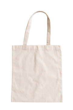 Tote bag fabric cloth shopping sack mockup isolated on white background (clipping path)