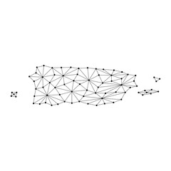 Puerto Rico map of polygonal mosaic lines network, rays and dots vector illustration.