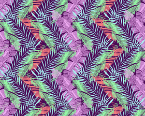 Tropical Background. Vector Seamless Pattern With Exotic Palm Trees leaves For Textile Or Book Covers, Manufacturing, Wallpapers, Print, Gift Wrap And Scrapbooking.