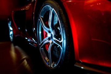 Poster Motorise Close Up on beautiful modern supercar with dramatic lighting