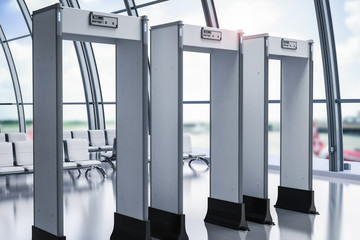 security gates or metal detectors in airport