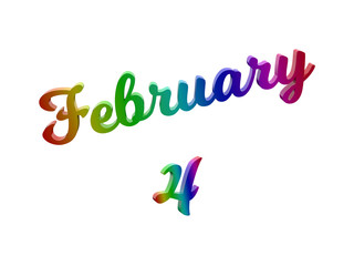 February 4 Date Of Month Calendar, Calligraphic 3D Rendered Text Illustration Colored With RGB Rainbow Gradient, Isolated On White Background