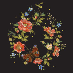 Embroidery colorful floral pattern with poppies and butterfly. Vector embroidered folk flowers bouquet on black background for design.