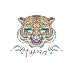 Embroidery oriental patch with tiger head. Vector embroidered floral template for t shirt and fashion design.
