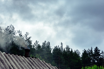 The roof of a forest house with smoke from a pipe