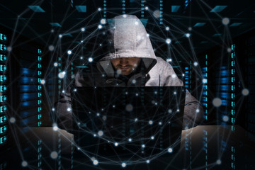 Hacker accessing to personal data information with a computer 3D rendering