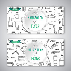 Hand drawn doodle Hair salon icons set. Vector illustration. Barber symbols collection Flyer template Cartoon hairdressing equipment element: shampoo mask hair die scissors iron curlers dryer razor