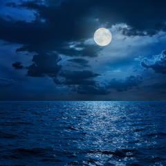 Papiers peints Nuit full moon in clouds over sea in night