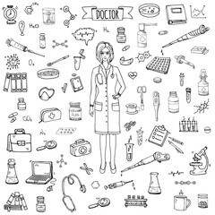 Hand drawn doodle Doctor icons set Vector illustration Sketch Nurses and medical staff. Medical hospital concept in cartoon design people character. Healthcare symbols collection: laboratory equipment