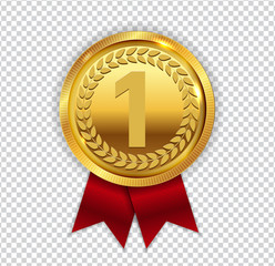 Champion Art Golden Medal with Red Ribbon l Icon Sign First Plac