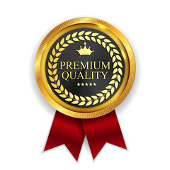 Premium Quality Golden Medal Icon Seal  Sign Isolated on White B