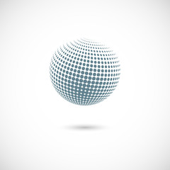 Vector abstract dotted halftone planet