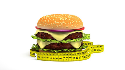 Hamburger with measuring tape isolated in a white background. Diet food concept.