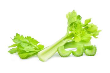 fresh celery with slice isolated on white background