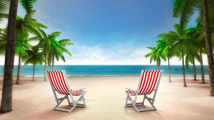 two deck chairs on the sandy tropical beach