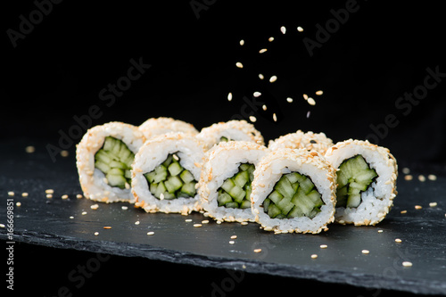 Traditional Japanese Cuisine Selective Focus On Sushi Rolls