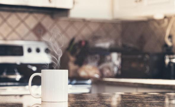 White coffee mug in modern kitchen interior