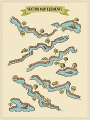 Vector map elements, colorful, hand draw - water, rivers, lakes, islands
