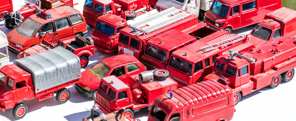 collector display for metallic firefighter truck specialists at garage sale