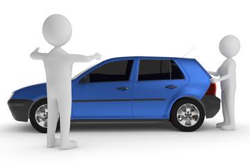 Autopanne. Ein blaues Auto hat eine Panne. Ein 3D - Charakter schiebt den Wagen. Ein anderer zeigt den Abstand an.