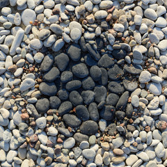Black and white pebbles.