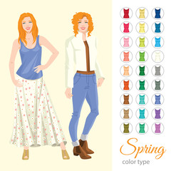 Vector illustration of seasonal color palette for spring  type. Redhead woman in different clothes