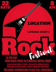 Rock music festival poster or flyer design. Vector illustration