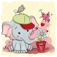Cute cartoon Elephant with flower