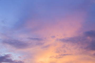 golden sky at dusk with colorful clouds Look beautiful.