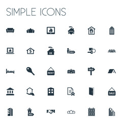 Vector Illustration Set Of Simple Property Icons. Elements Advertising, Glass Tower, Comfort And Other Synonyms Lock, Monitor And Broker.